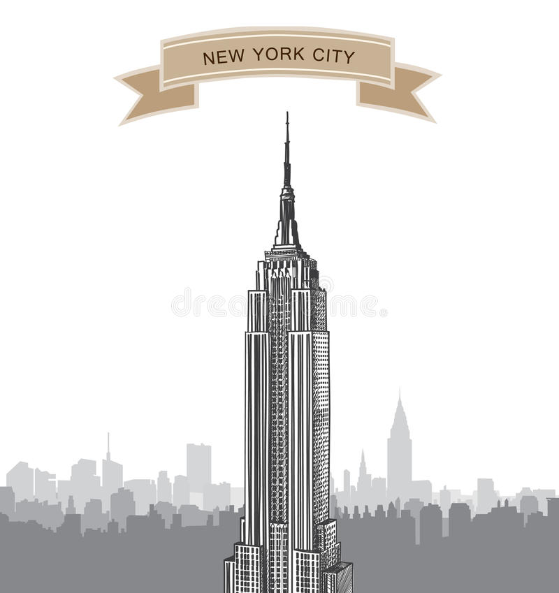 New York City Skyline. Vector USA landscape. Hand drawn sketch background royalty free illustration