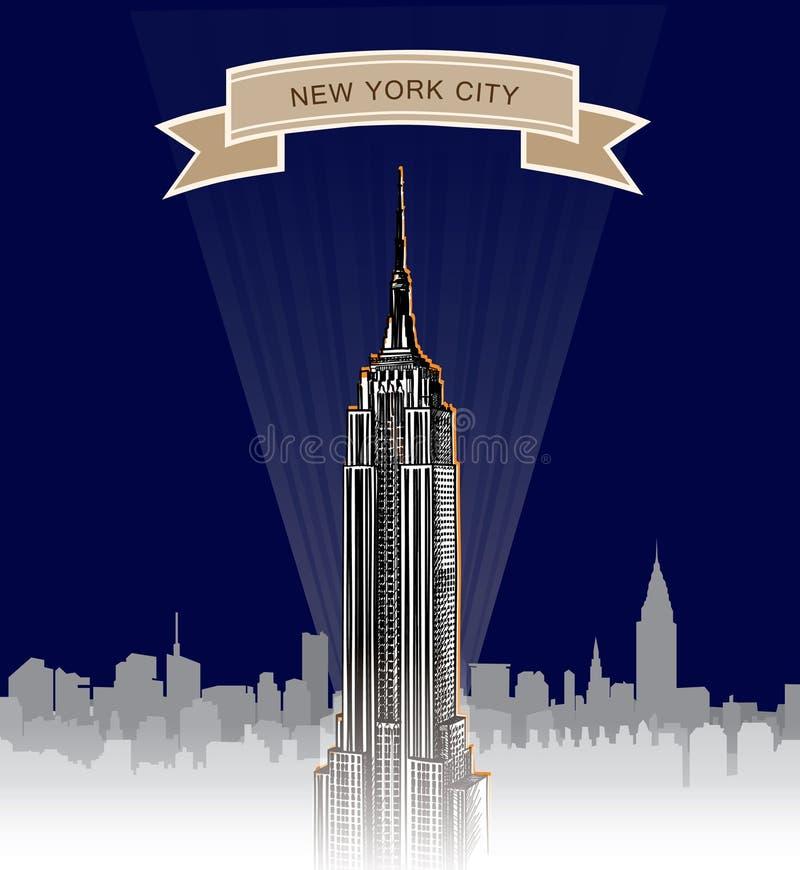 New York City Skyline. Vector USA landscape. Hand drawn sketch background stock illustration