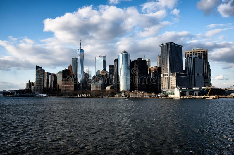 New York City skyline view from water royalty free stock images