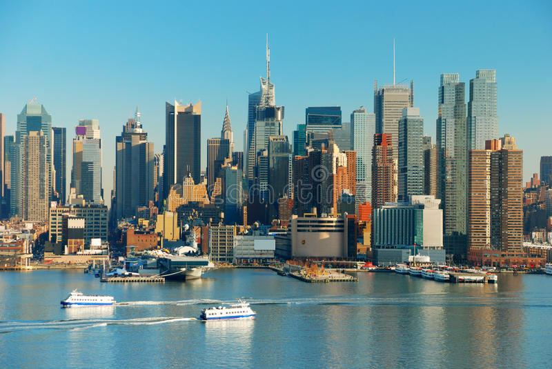 New York City with skyscrapers stock images