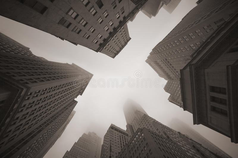 New York City skyscrapers in fog stock image