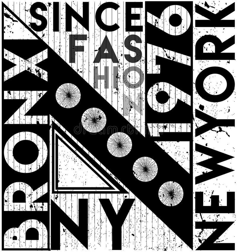 New York City slogan, t-skjortadiagram, utslagsplatstryckdesign vektor stock illustrationer