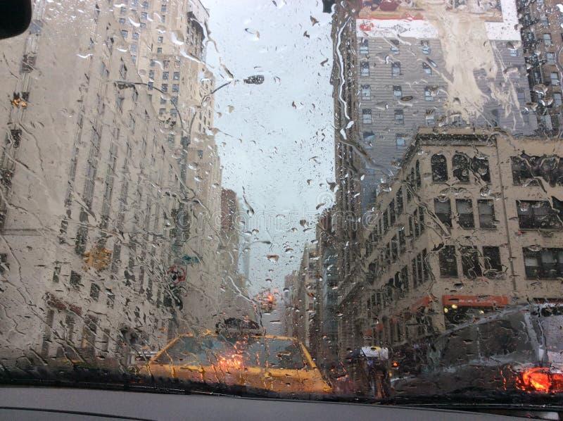 New York City sous la pluie images libres de droits