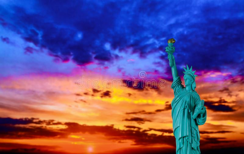 New York City Statue of liberty at sunset with American Symbol US royalty free stock photography