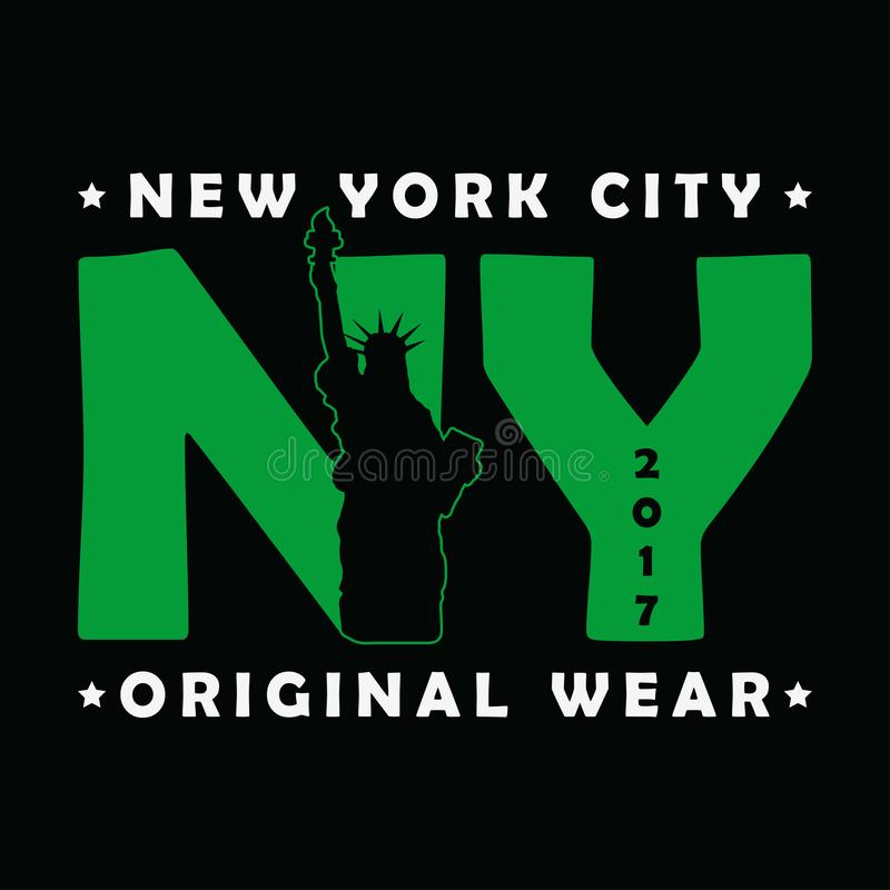 New York City statyn av frihettrycket Modernt stads- diagram för t-skjorta Original- kläderdesign Dräkttypografi vektor stock illustrationer