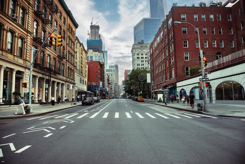 New York City street road in Manhattan at summer time. Urban big city life concept background.  royalty free stock photography