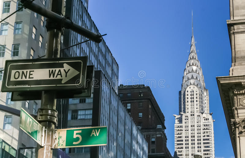 New York City street signs and Chrysler building. New York City street signs and the Chrysler building royalty free stock images
