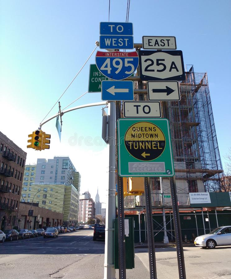 New York City Street Signs, Queens Midtown Tunnel, LIC, Queens, NY, USA stock images
