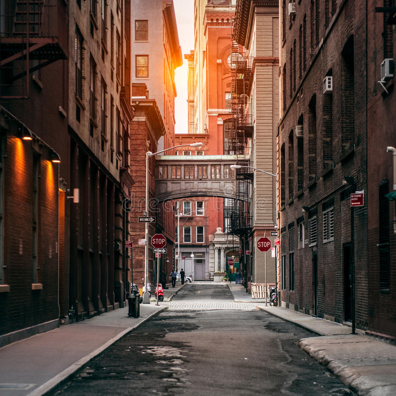 New York City street at sunset time. Old scenic street in TriBeCa district in Manhattan. royalty free stock photography