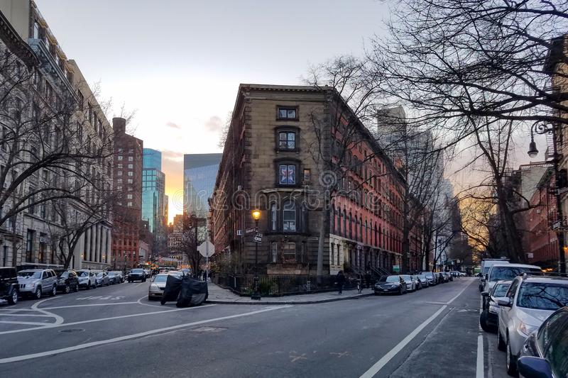 New York City streets at dusk in the East Village. Of Manhattan stock photo