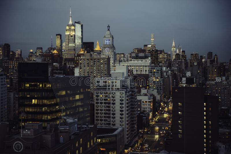 New York City streets view to Manhattan Midtown at twilight time. royalty free stock photography