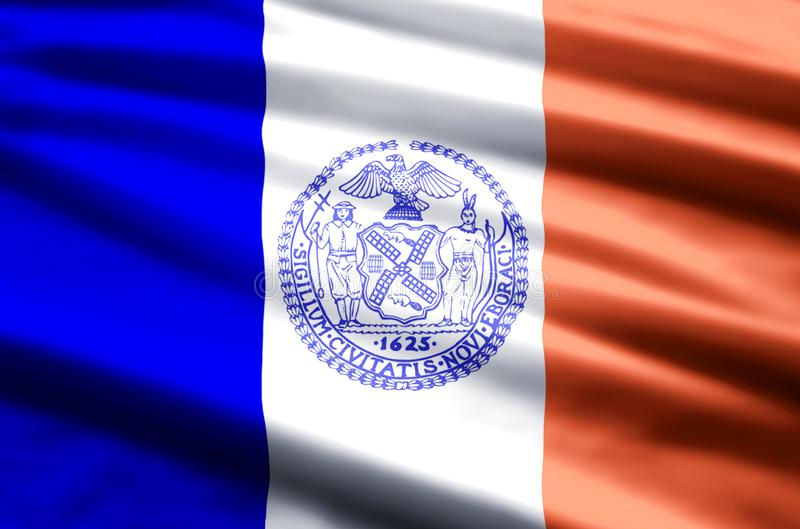 New york city flag illustration. New york city waving and closeup flag illustration. Perfect for background or texture purposes royalty free illustration