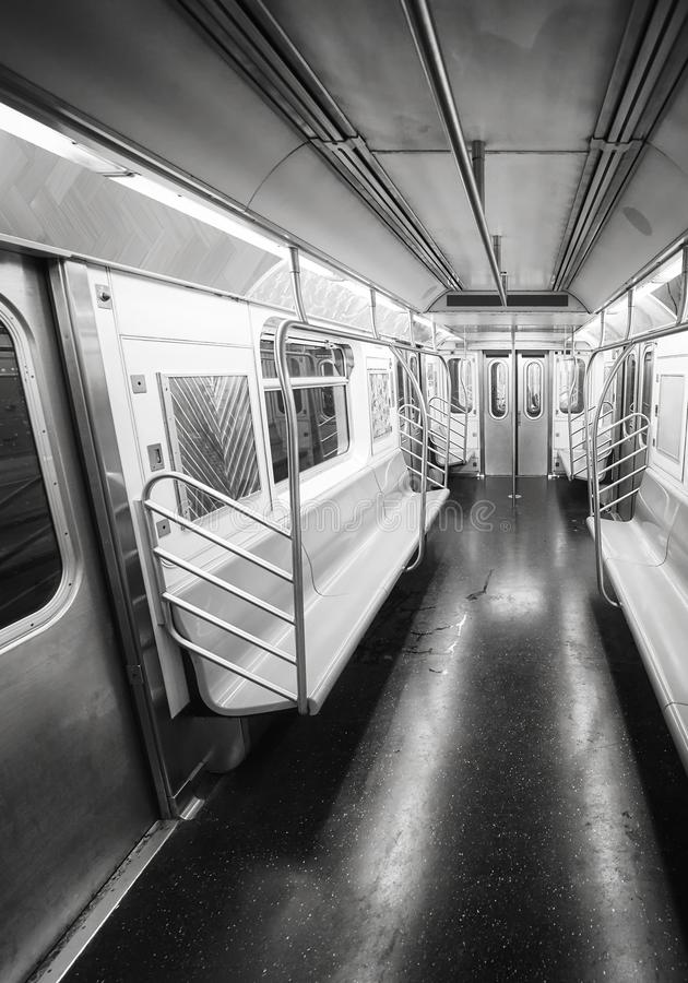 New York City subway car interior, USA. royalty free stock photo