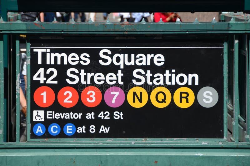 New York City Subway Times Square Station. New York Subway Station Entrance Sign royalty free stock photos