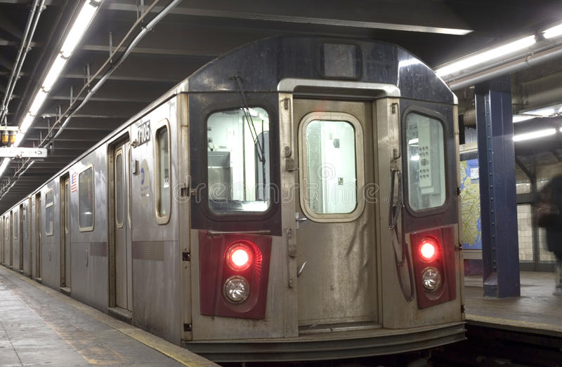 New York City Subway train. NEW YORK, NEW YORK - DECEMBER 29: Subway train parked in station. Taken December 29, 2010 in New York City royalty free stock photography