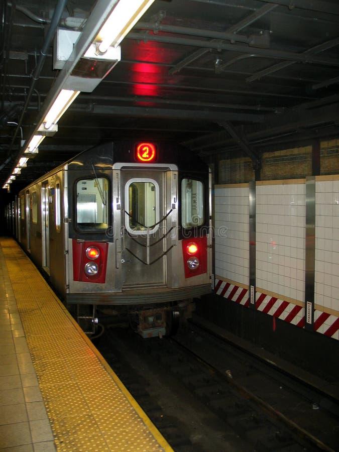 New York City Subway Train Entering Station stock photos