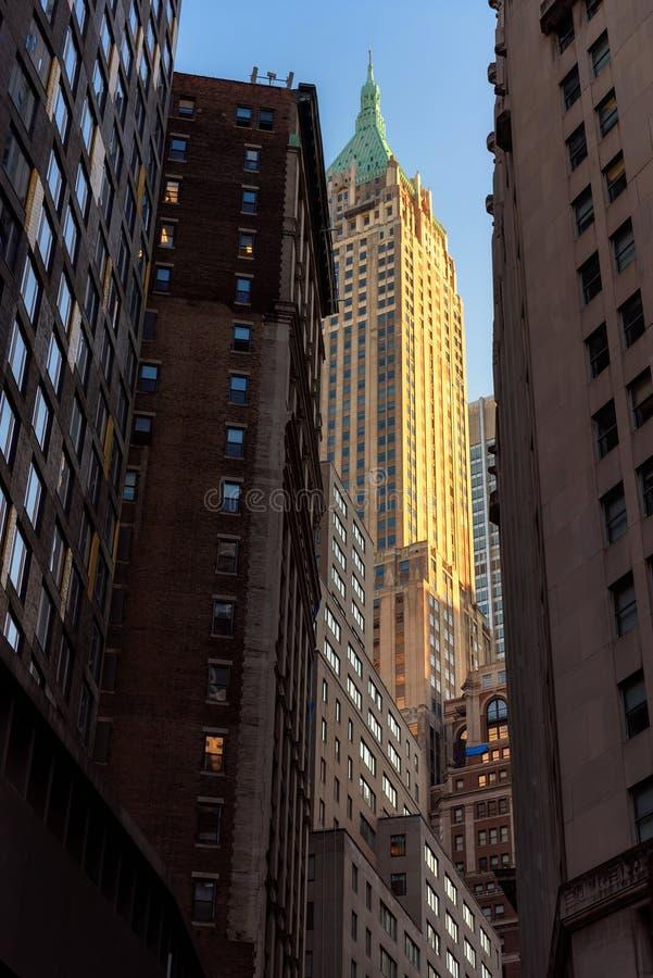 New York City at sunrise, Manhattan, U.S.A. stock photos