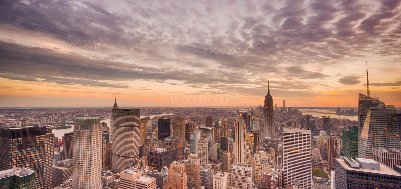 New York City at sunset stock images