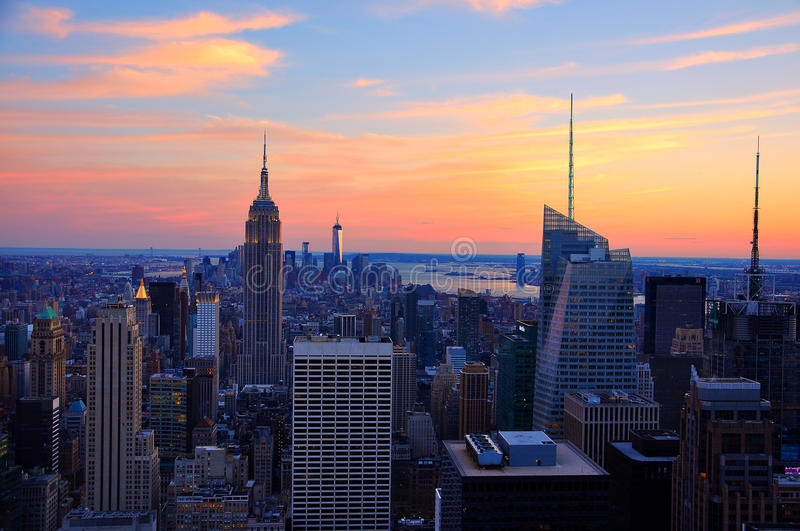 New York city in sunset royalty free stock photo
