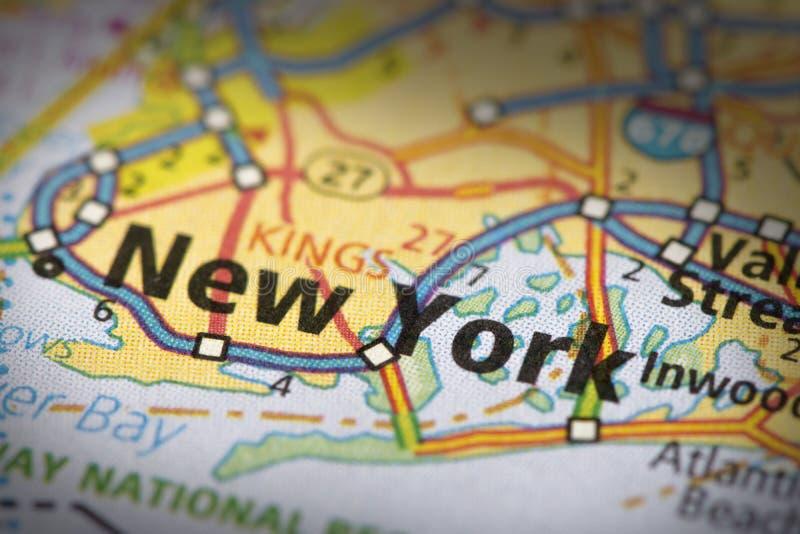 New York City sur la carte photos libres de droits