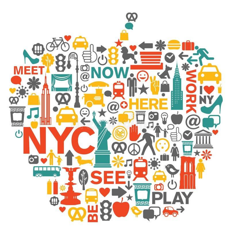 New York City symboler och symboler stock illustrationer