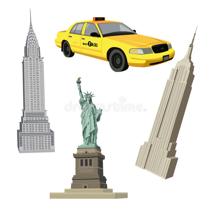 New York City Symbols stock illustration