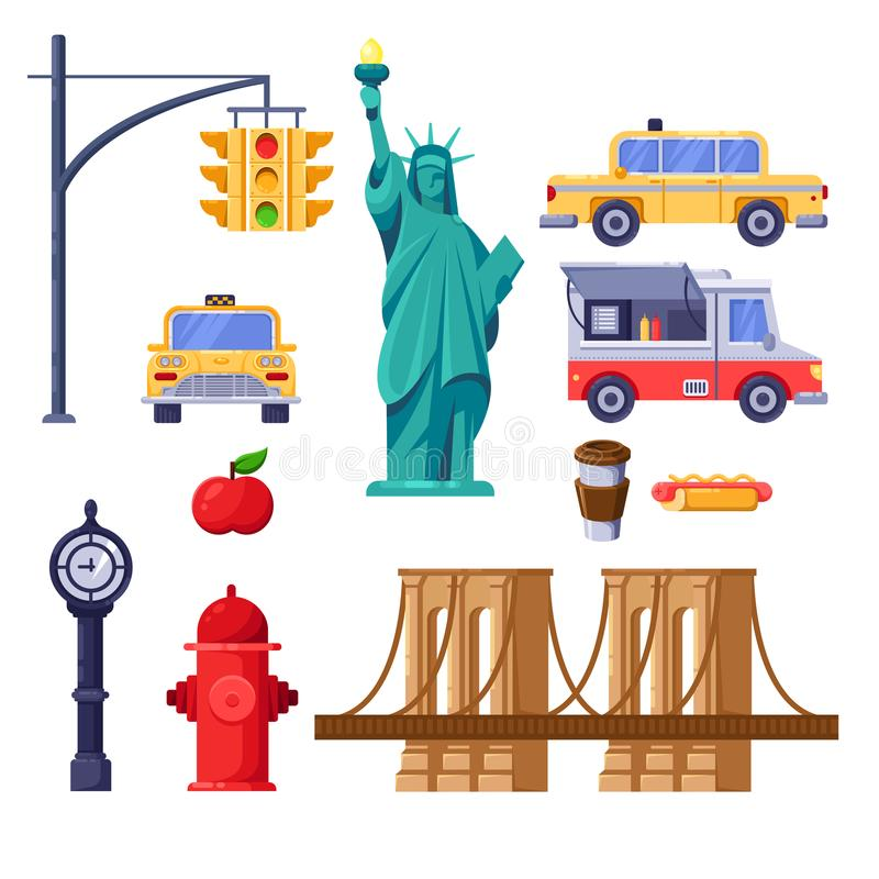 New York city symbols set. Vector travel isolated illustration. Yellow taxi, Statue of Liberty, Brooklyn Bridge icons. royalty free illustration