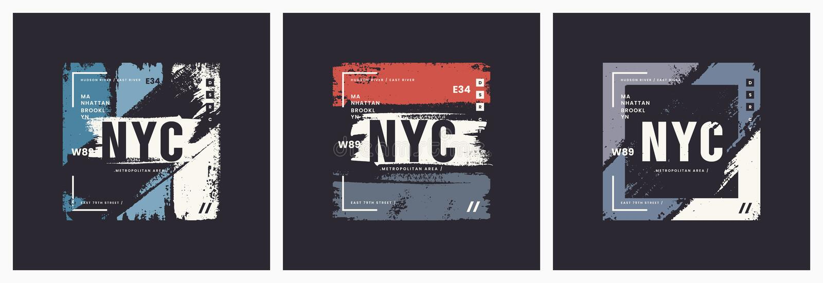 New York City t-shirt and apparel brush style vector abstract ge stock illustration