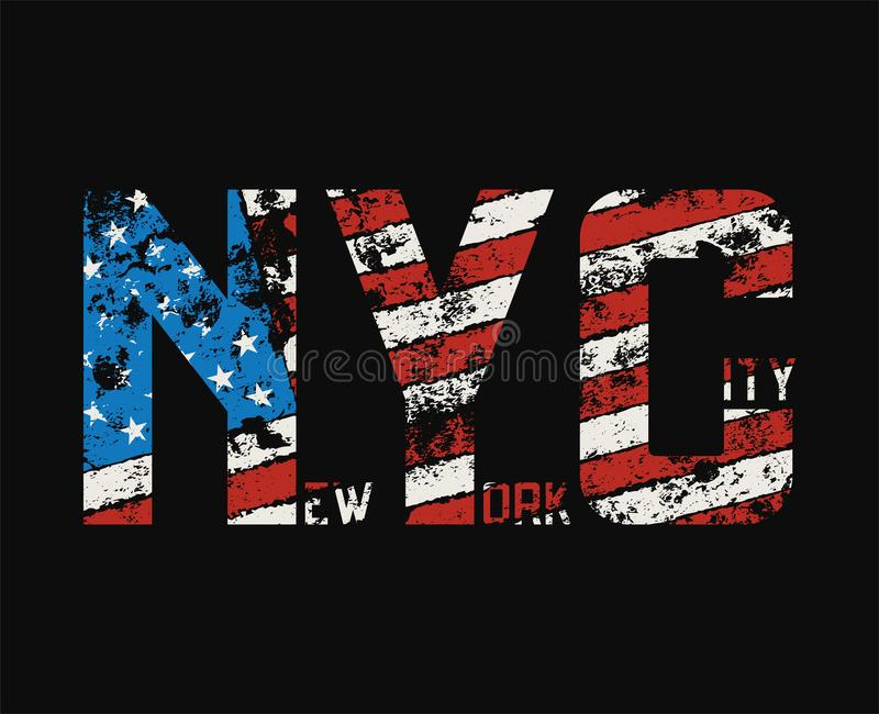 New York City t-shirt and apparel design with grunge effect. vector illustration