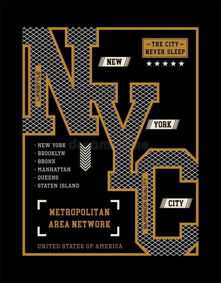 New York City T-tröjadiagram, vektorbilder vektor illustrationer