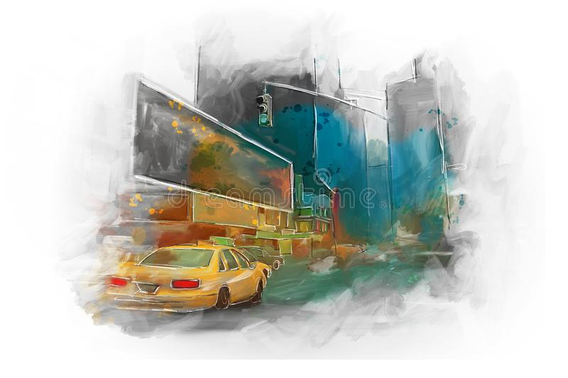 New york city taxi time square abstract painting artprint stock illustration