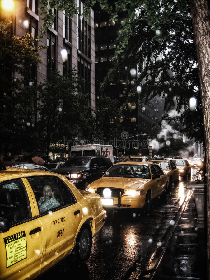 New York City Taxis Rain royalty free stock image