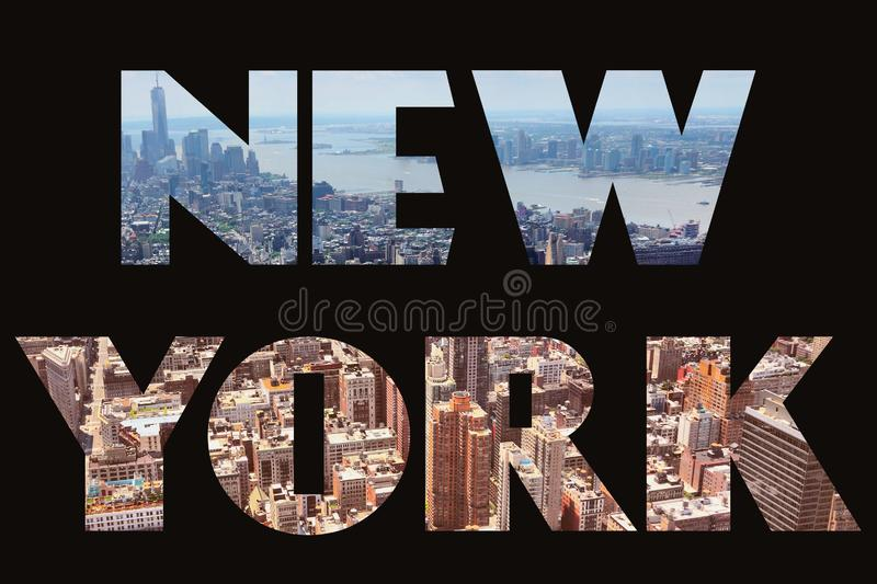 New York City. New York text sign - city name with background travel postcard photo vector illustration