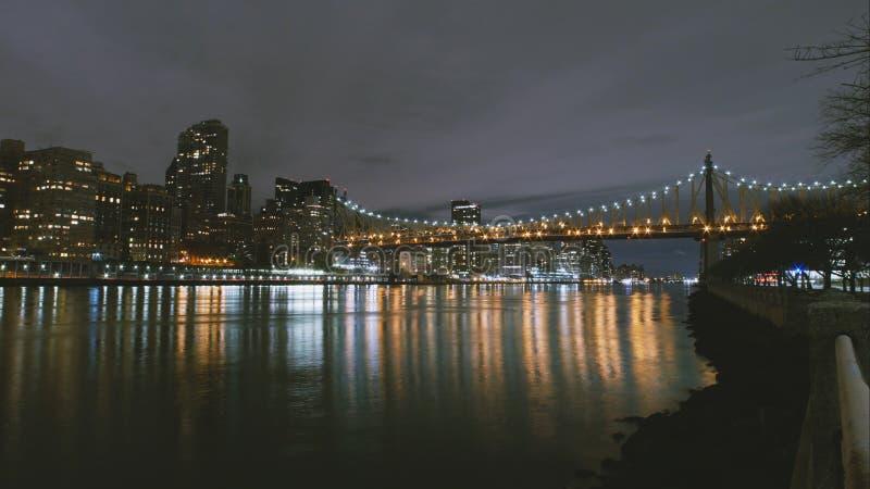 New York City timelapse - night skyline Manhattan skyscrapers royalty free stock photo