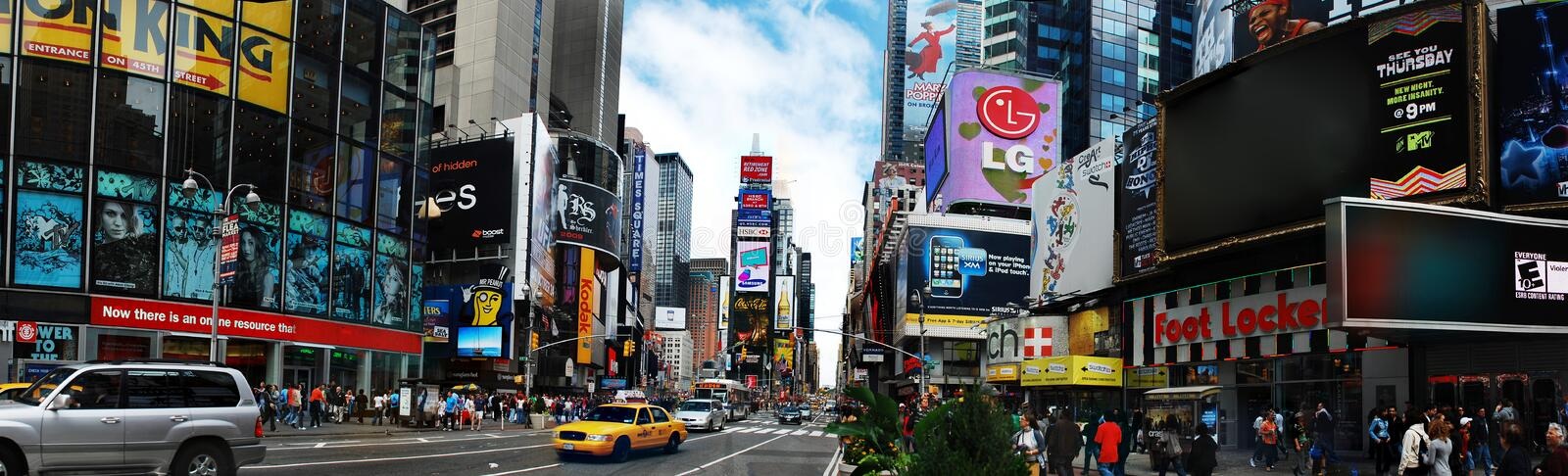 New York City Times Square Panorama. Panorama view of Times Square. Times Square is a major intersection in Manhattan, a borough of New York City. Times Square royalty free stock photography