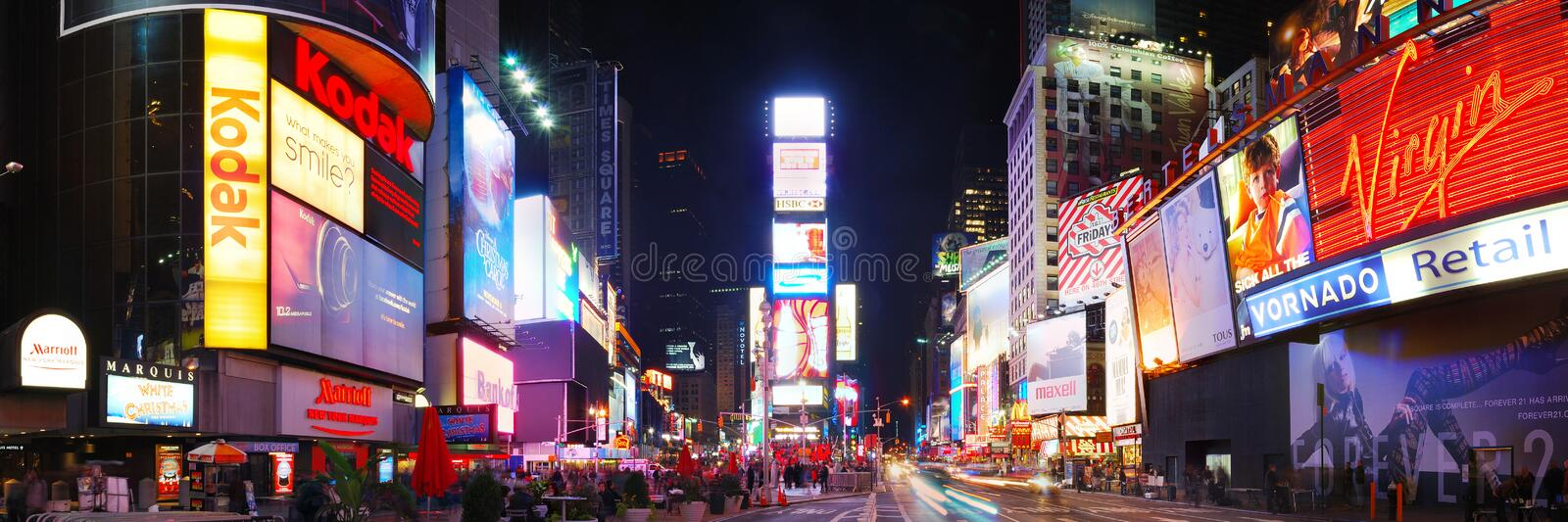 New York City Times Square Panorama. Times Square panorama, New York City, Manhattan, with busy traffic, tourist and commercial royalty free stock photo