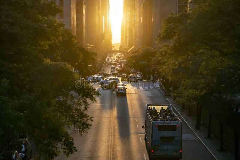 New York City tour bus drives down 42nd Street through Midtown Manhattan with sunlight shining in the background. New York City 2019: NYC tour bus drives down stock photo