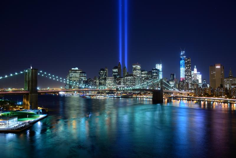 Download New York City Tribute In Light Stock Image - Image of brooklyn, twin: 26624765