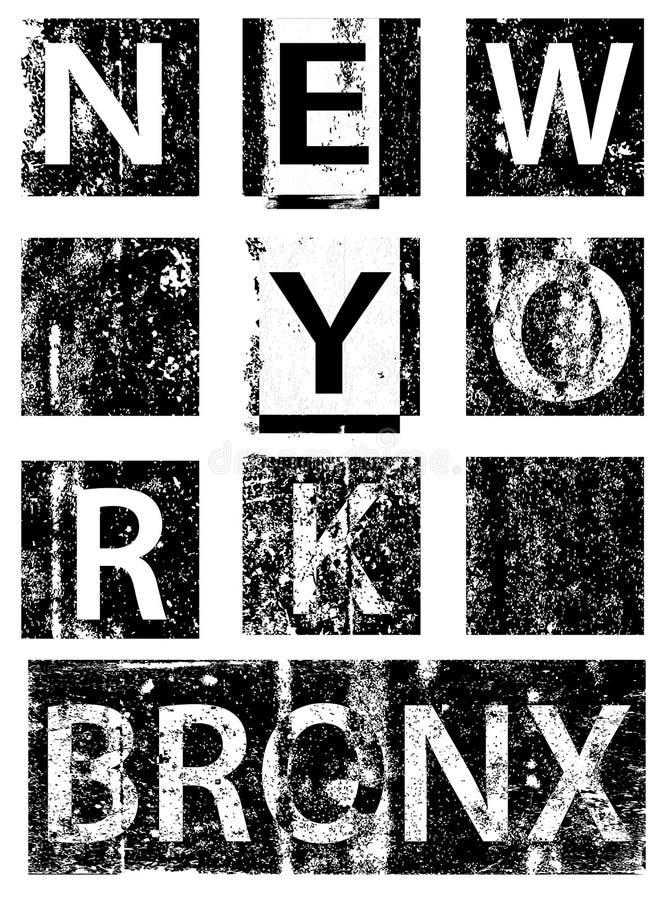 New York City typografi, t-skjorta diagram, vektorer stock illustrationer