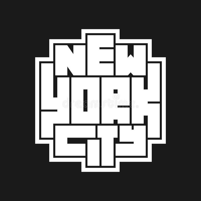 New York City typografiaffisch r royaltyfri illustrationer
