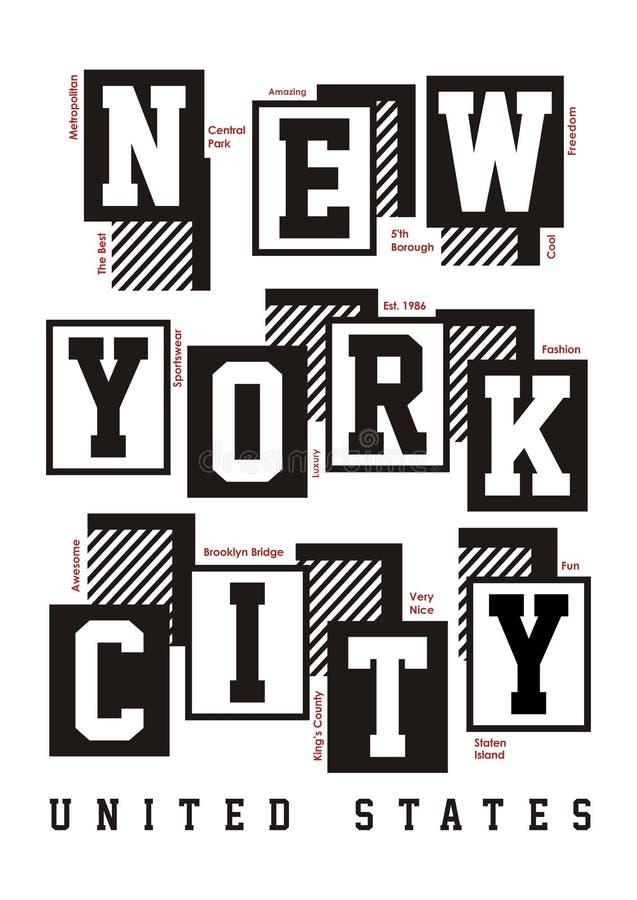 New York City typografidesign för t-skjortatryck royaltyfri illustrationer