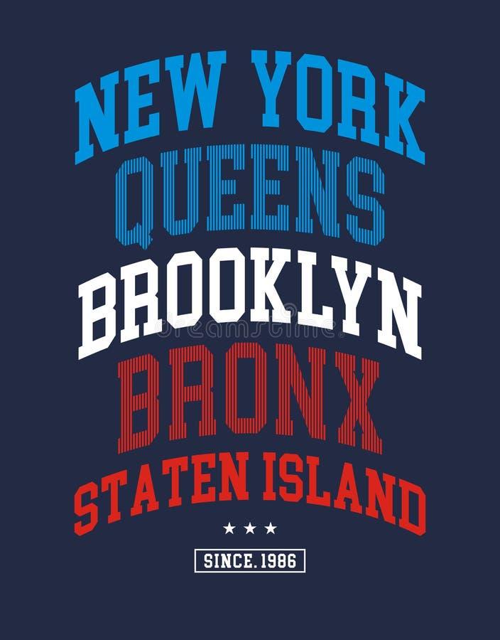 New York City typografidesign, T-tröjadiagram vektor illustrationer
