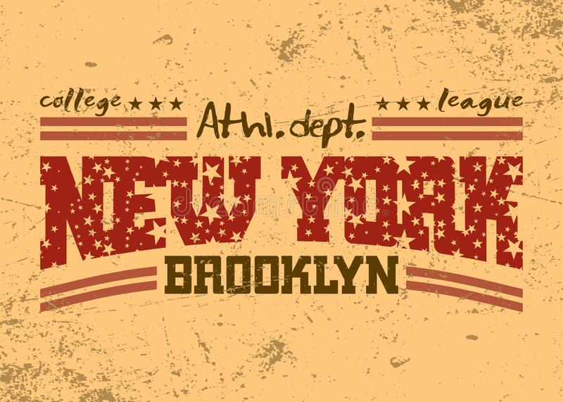 New York City typografidiagram Brooklyn idrotts- avdelning vektor illustrationer