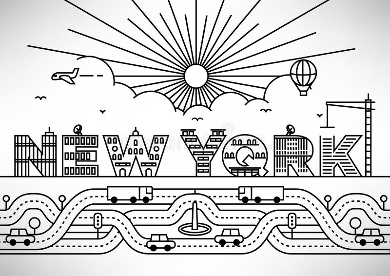 New York City Typography Design with Building Letters stock illustration