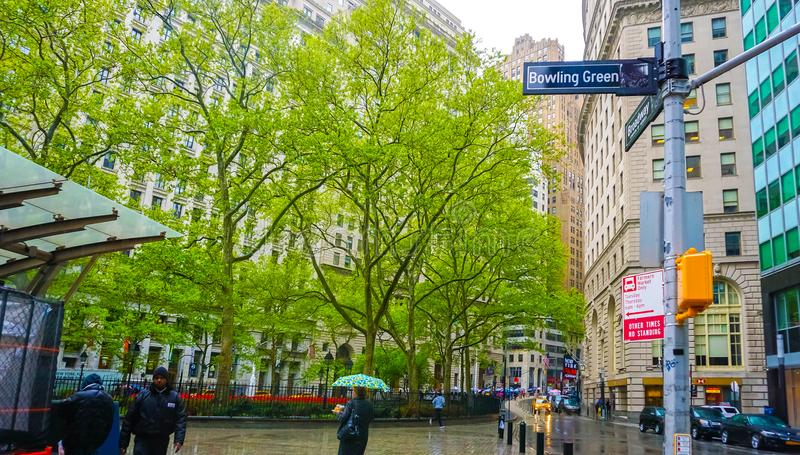 New York City, United States of America - May 02, 2016: Bowling Green, Manhattan, NYC, USA on May 02, 2016. New York City, United States of America - May 02 stock images