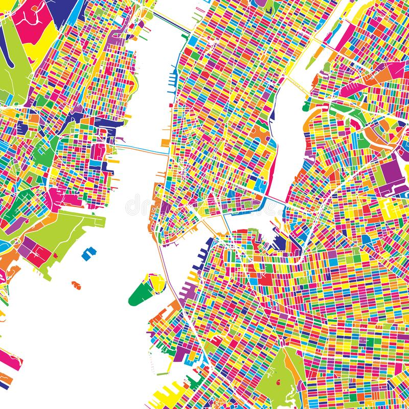 New York City, United States, colorful vector map vector illustration