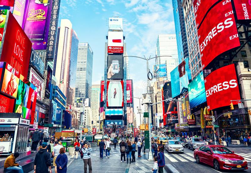 New York City, United States - November 2, 2017: City life in Times Square at daytime stock photos