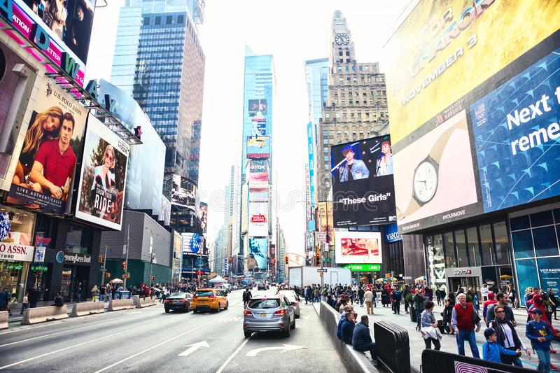 New York City, United States - November 2, 2017: Manhattan`s view of 7th Avenue near Time Square.  stock images