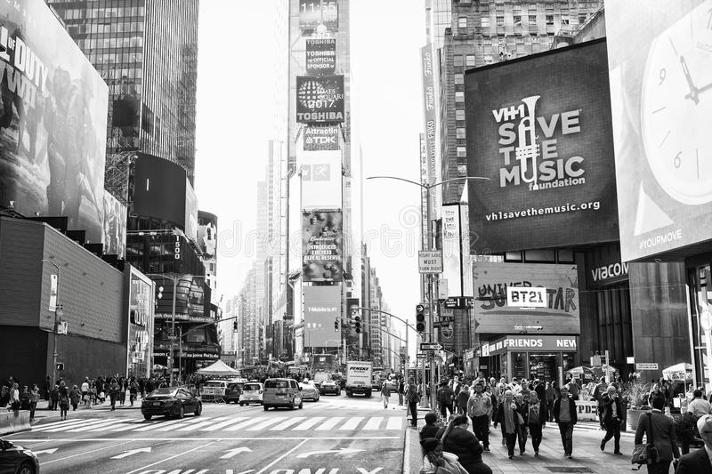 New York City, United States - November 2, 2017: Manhattan`s view of 7th Avenue near Time Square.  Black and white stock photo