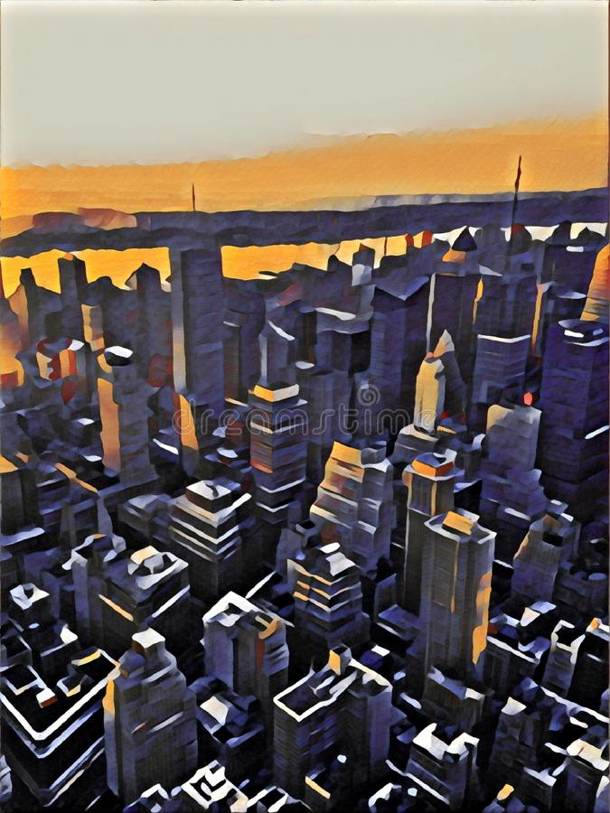 New York City. New york united states skyscrapers. New York United States skyscrapers, downtown New York,Still Life of New York City from a height vector illustration